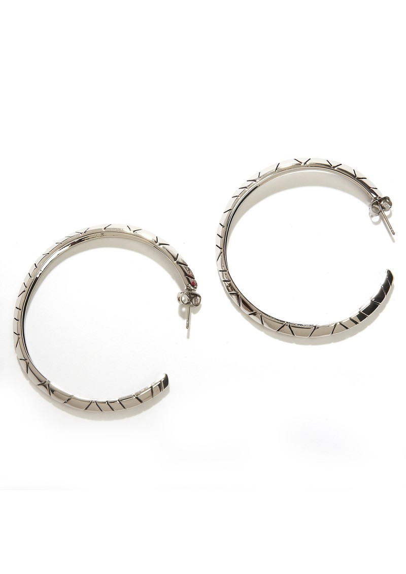 Tribal Hoop Earrings - Silver main image