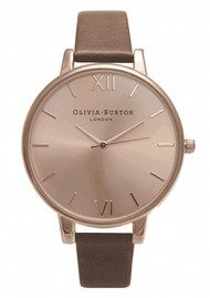 Olivia Burton Big Dial Watch -  Rose Gold & Brown