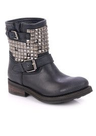 Ash Titan Destroyer Studded Biker Boot - Silver & Black
