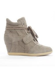 Ash Bowie Calf Suede Wedge Trainers - Stone