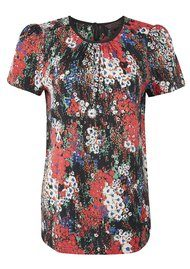 Great Plains Papaveri Short Sleeve Top - Lipstick Combo