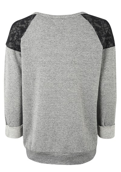 Maison Scotch Long Sleeve Lace Shoulder Sweat - Black & Grey main image
