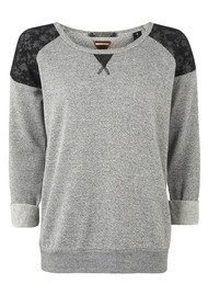 Maison Scotch Long Sleeve Lace Shoulder Sweat - Black & Grey