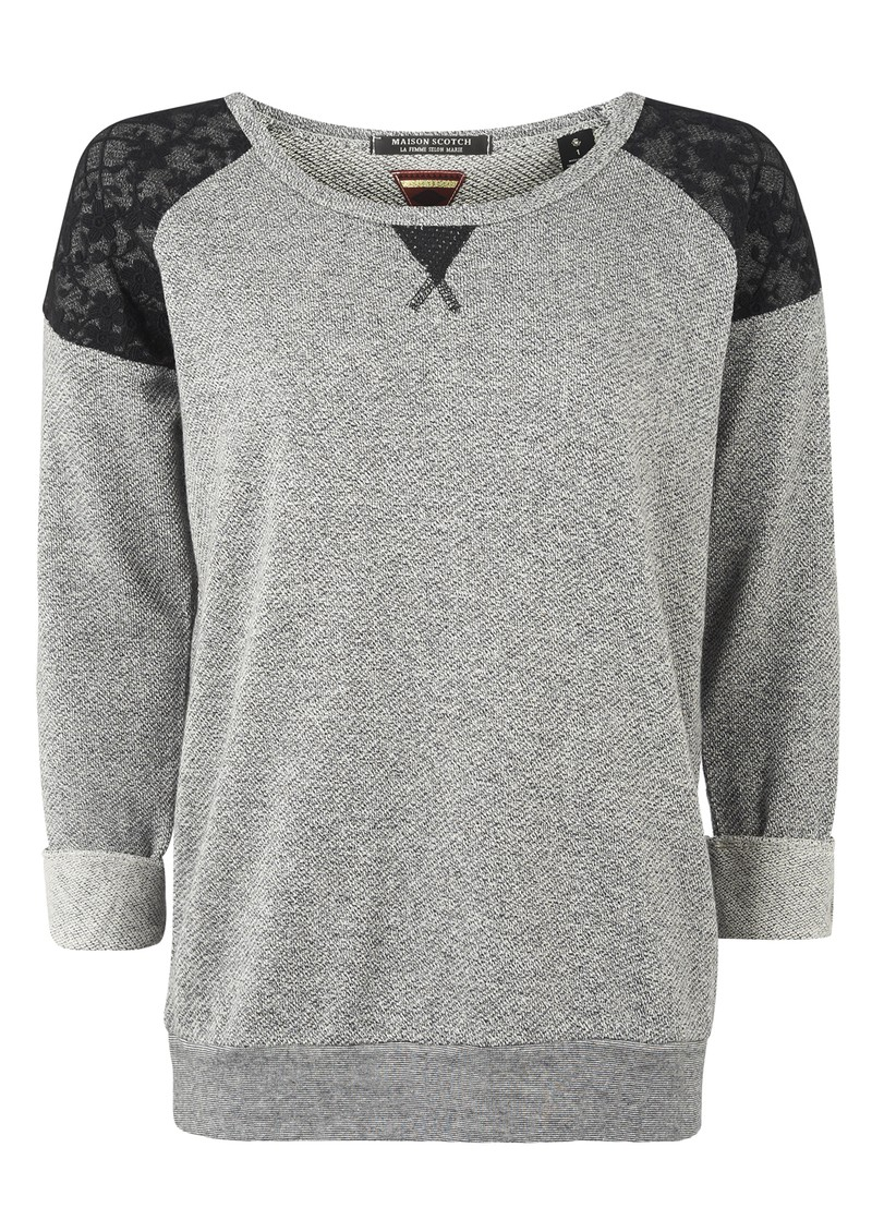 Long Sleeve Lace Shoulder Sweat - Black & Grey main image