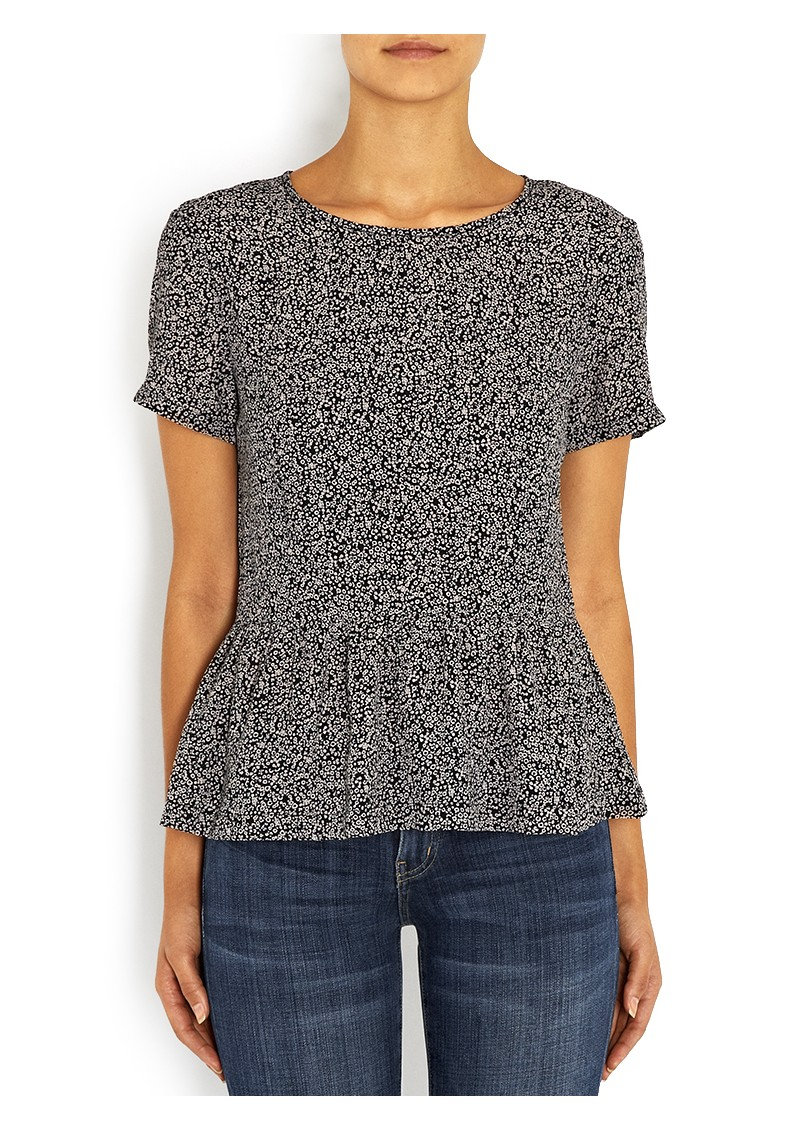Great Plains Dizzy Tweed Peplum Top - Black & Milky  main image