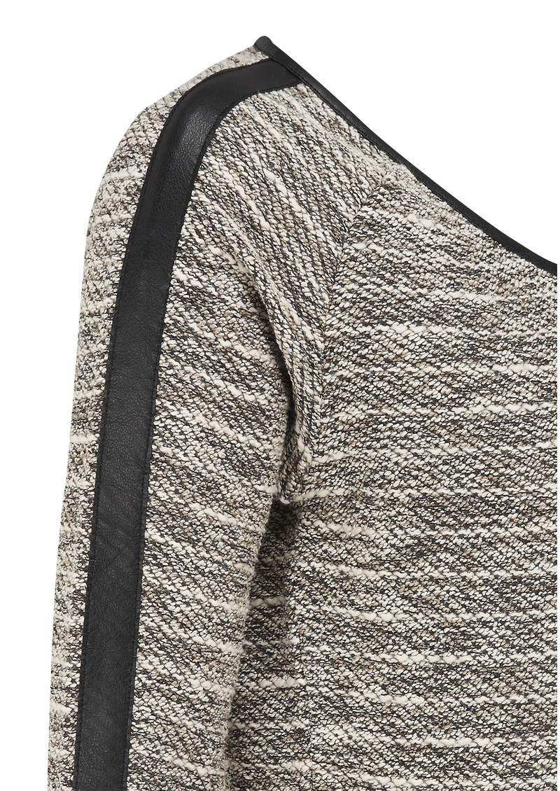 Boucle Leather Trim Sweat  - Stone main image