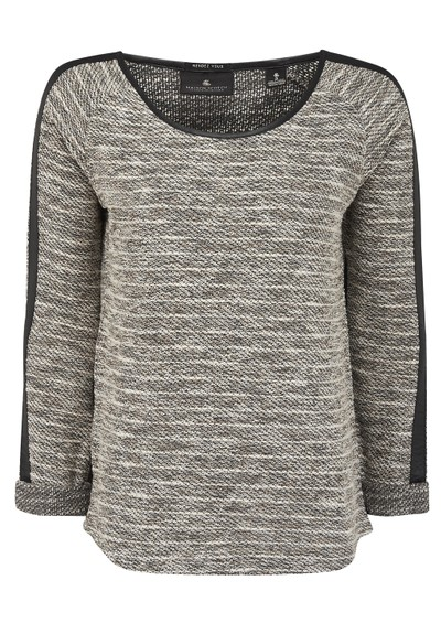 Maison Scotch Boucle Leather Trim Sweat  - Stone main image