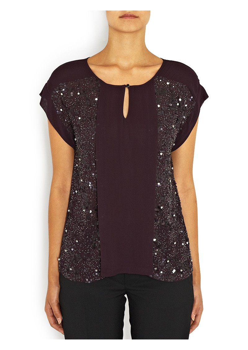 Merged Sequin Top - Fig main image