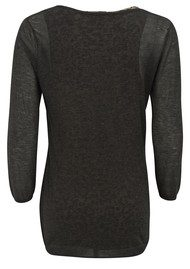 Maison Scotch Grandad 2 in 1 Top - Anthracite Melange