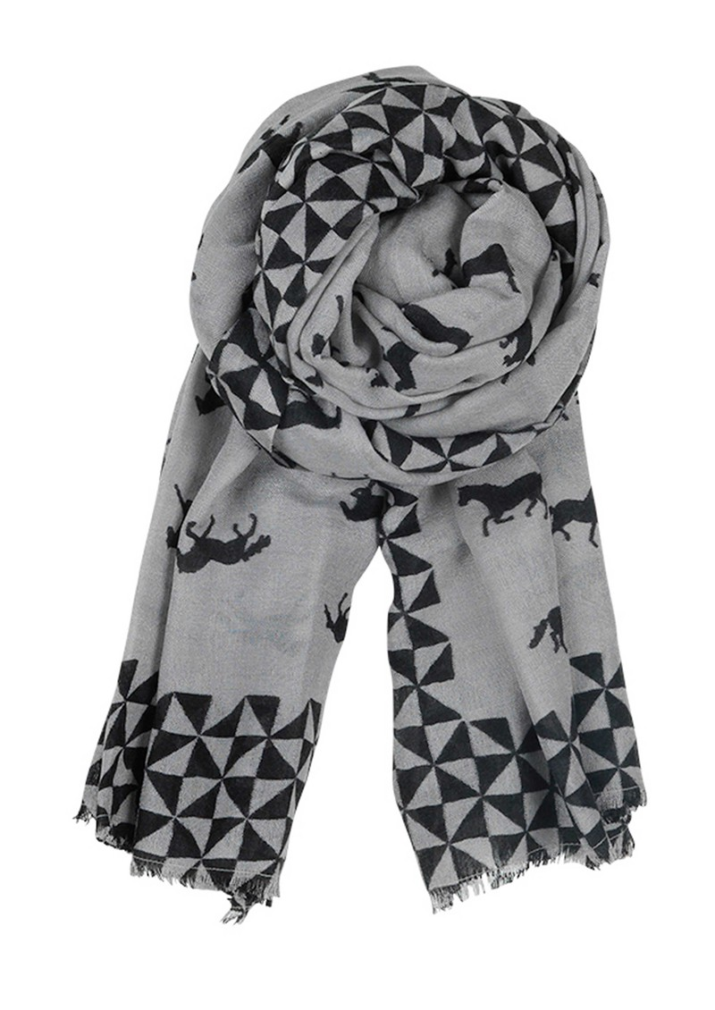 E Wild Horse Wool & Silk Blend Scarf - Mouse main image