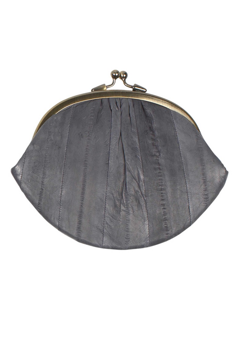 E Eel Skin Granny Purse - Charcoal Grey main image