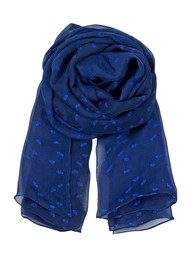 E Flower Range Silk Scarf - Rich Blue