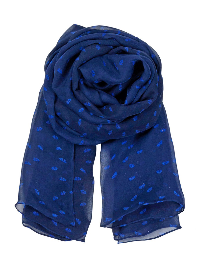 E Flower Range Silk Scarf - Rich Blue main image