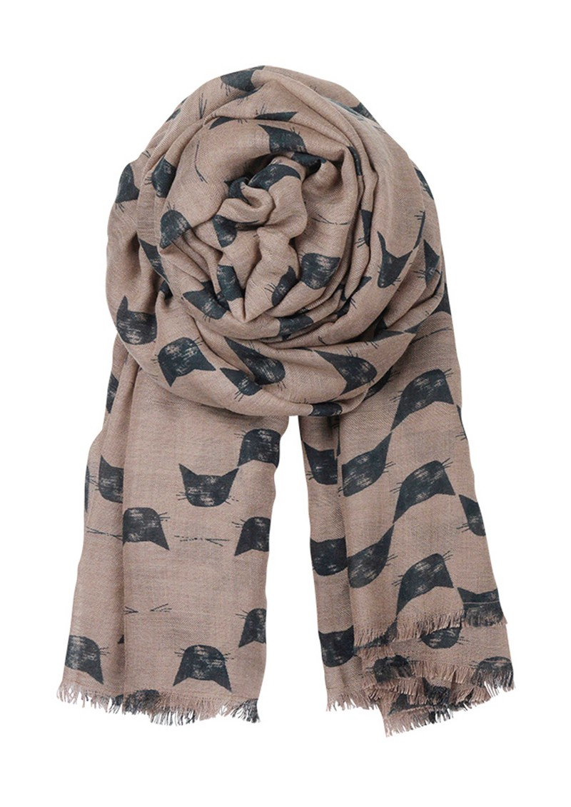 E Wooly Cat Scarf - Dark Green main image