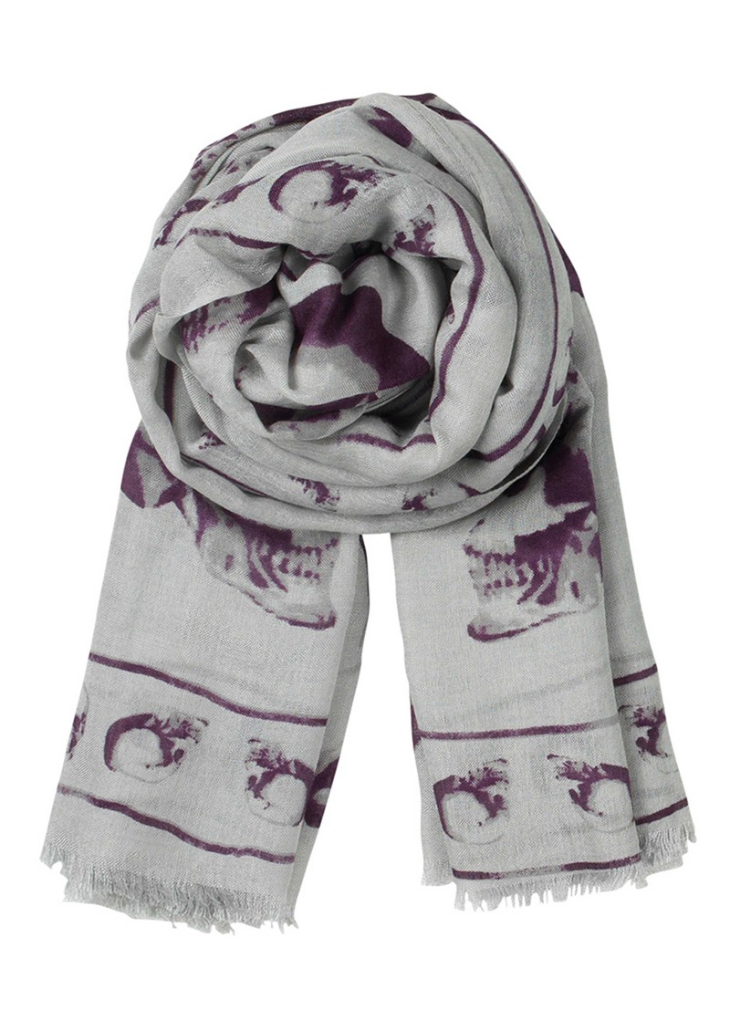 E Fading Skull Silk & Wool Blend Scarf - Aubergine main image