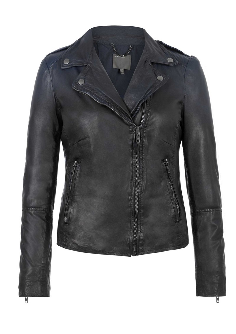 Salazar Ombre Leather Jacket - Indigo main image