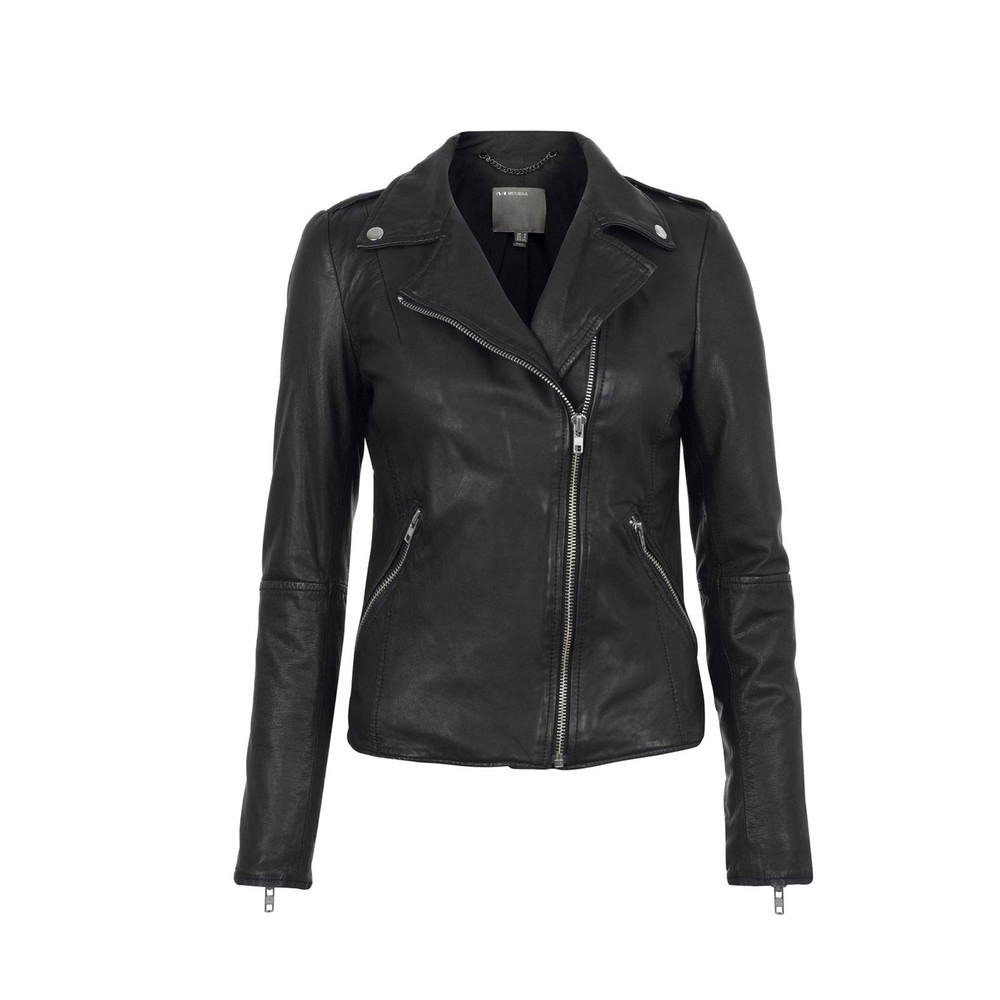 Carmona Biker Leather Jacket  Black