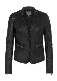Muubaa Nona Button Blazer Leather Jacket - Black