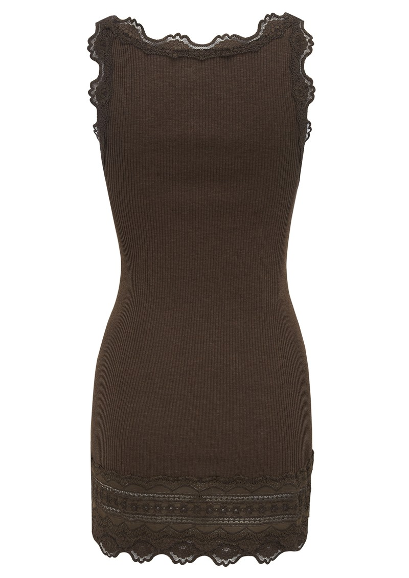 Wide Lace Silk Blend Vest - Bark main image