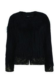 Unreal Fur Fire and Ice Faux Fur Jacket - Black Metallic