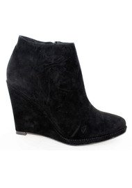 Lola Cruz Suede Wedge Ankle Boots - Black