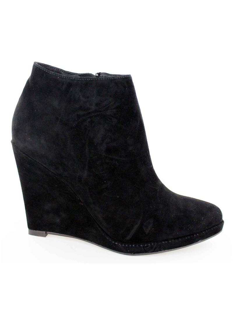 lola suede wedge ankle boots black