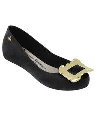 Melissa Vivienne Westwood Ultragirl Buckle Flock Pumps - Black