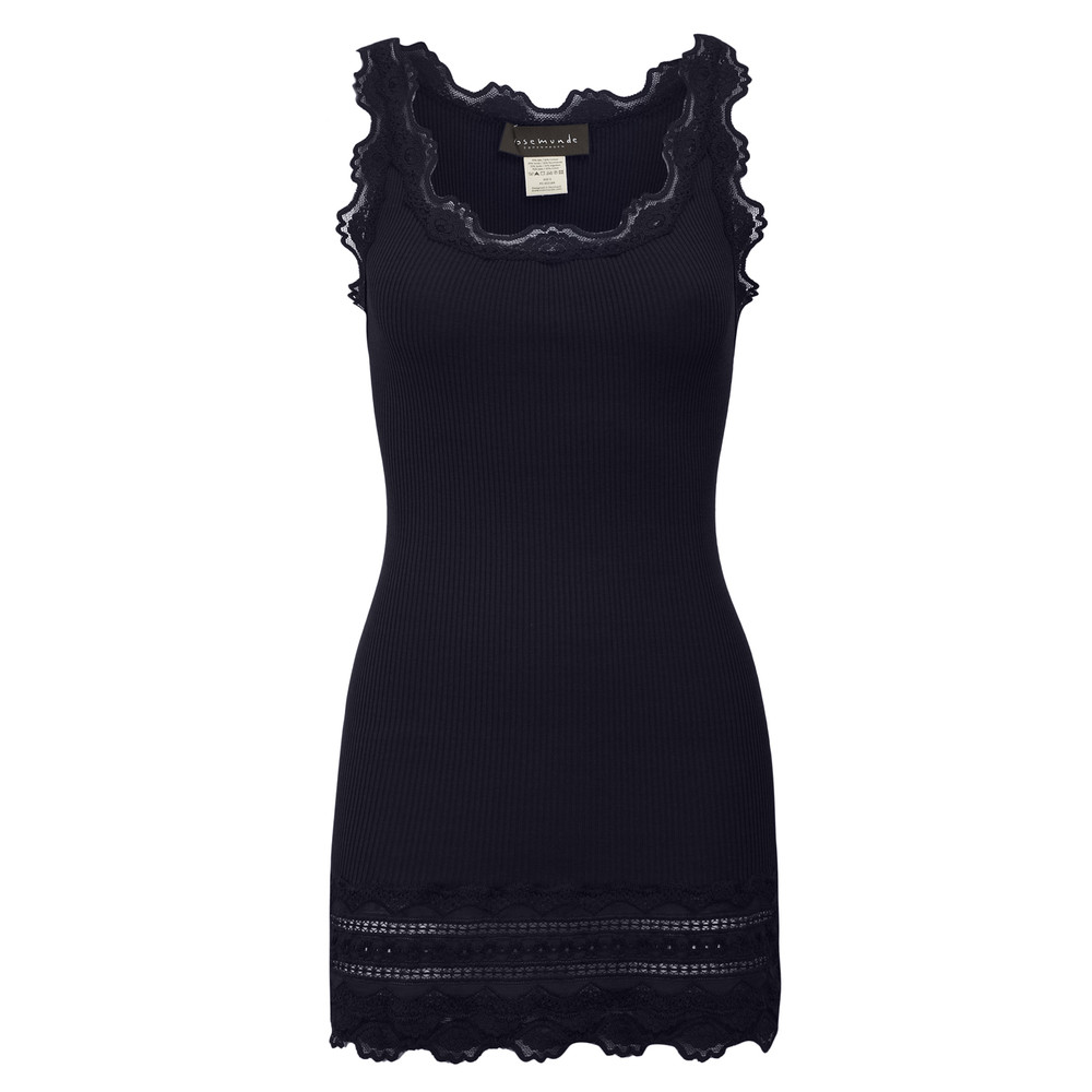 Wide Lace Silk Blend Vest - Navy