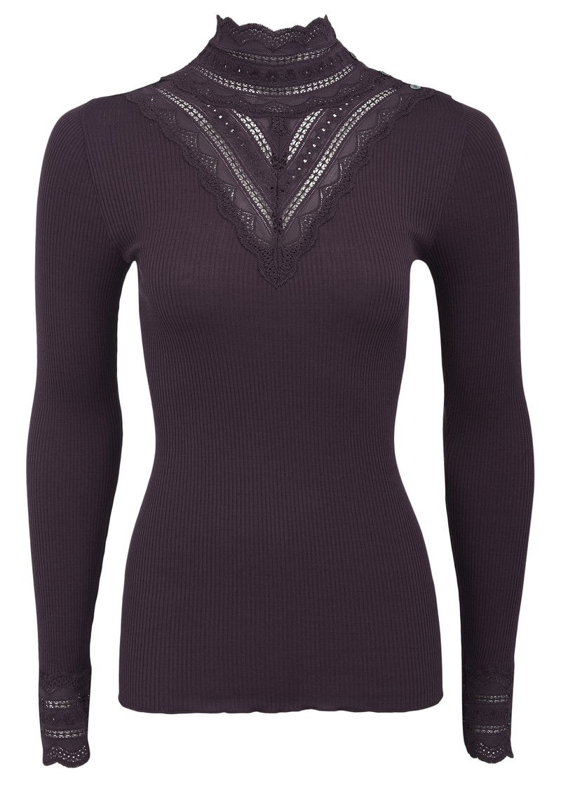 Rosemunde Silk Mix Turtleneck Top - Aubergine main image