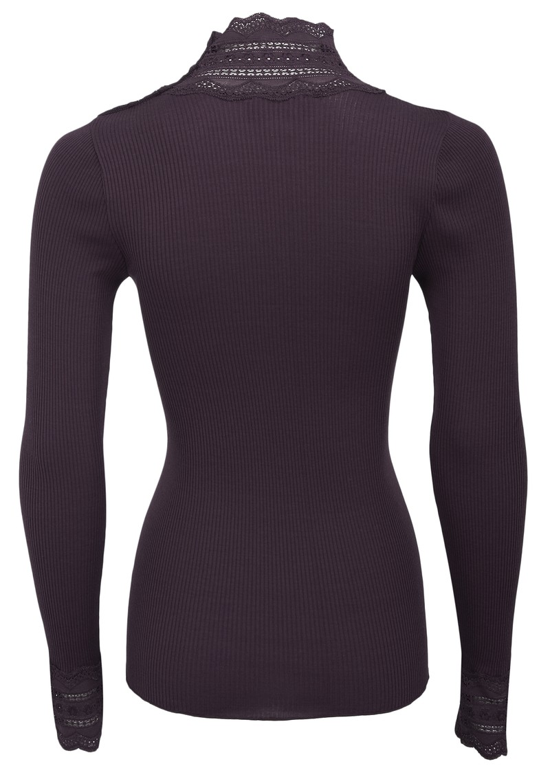 Silk Mix Turtleneck Top - Aubergine main image