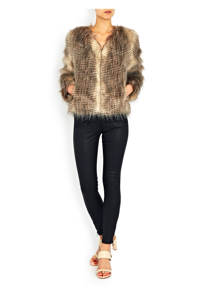 Furry Floss Faux Fur Jacket - Chocolate Raccoon  main image
