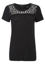 Maison Scotch Linen Palm Tree Tee - Black