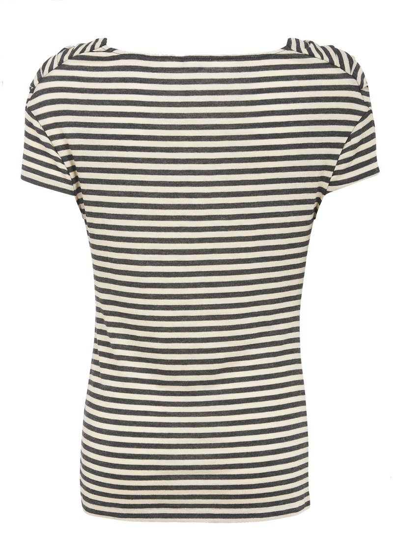 Mini Stripe Drape Tee - Charcoal  main image