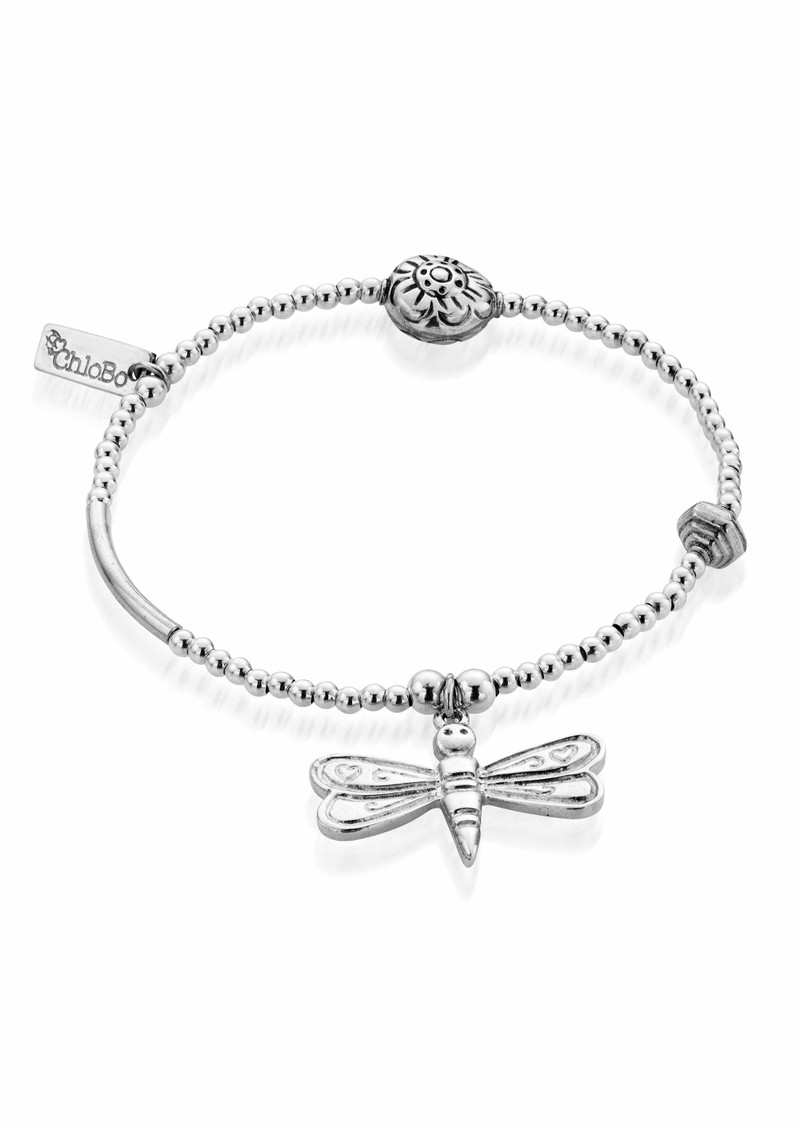 Lucky 13 Multi Bead Bracelet with Dragonfly - Silver main image