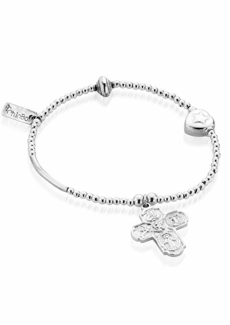 Lucky 13 Multi Bead Bracelet with Embossed Cross - Silver main image