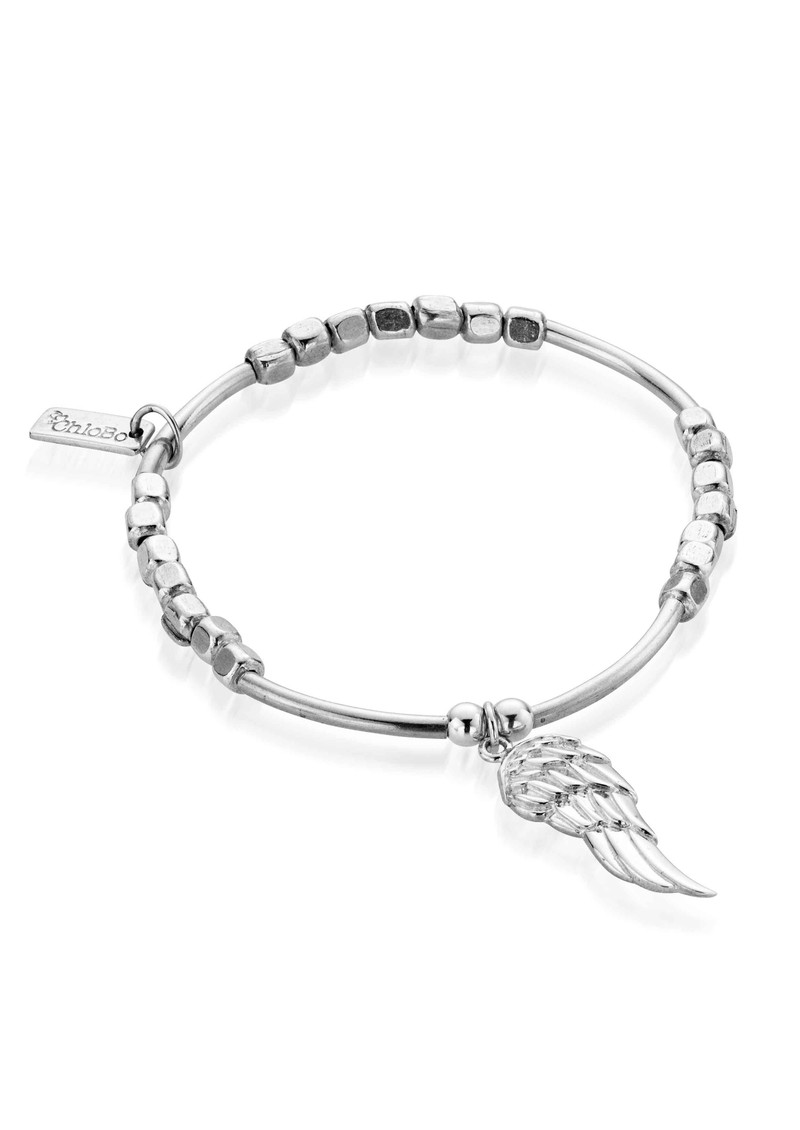 ChloBo Lucky 13 Square Mini Noodle Bracelet with Wing - Silver main image