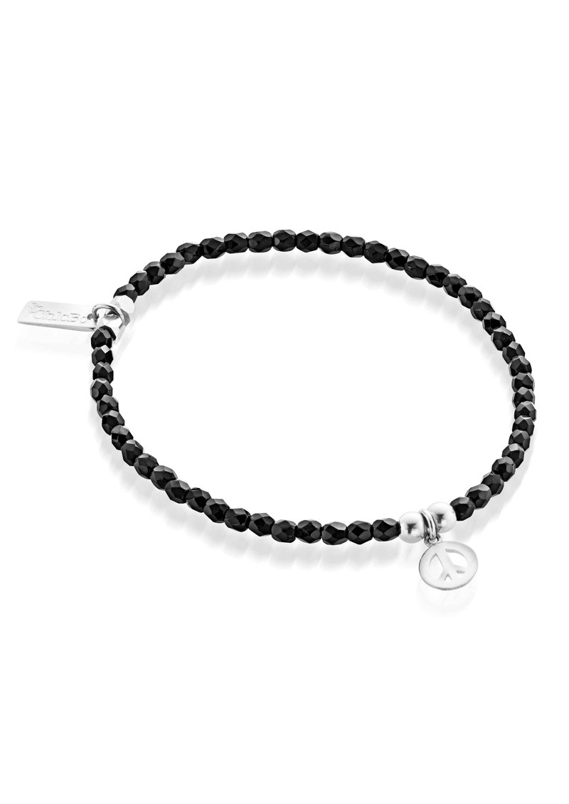 Lucky 13 Cute Black Sparkle Bracelet with Peace - Black & Silver main image