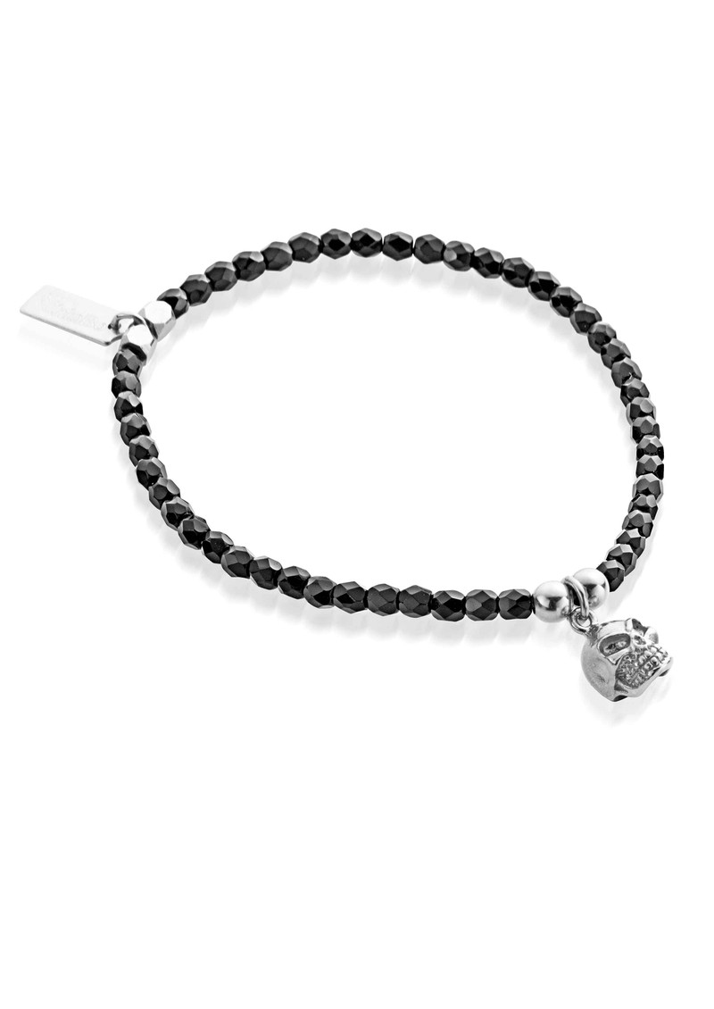 Lucky 13 Cute Black Sparkle Bracelet with Skull - Black & Silver main image
