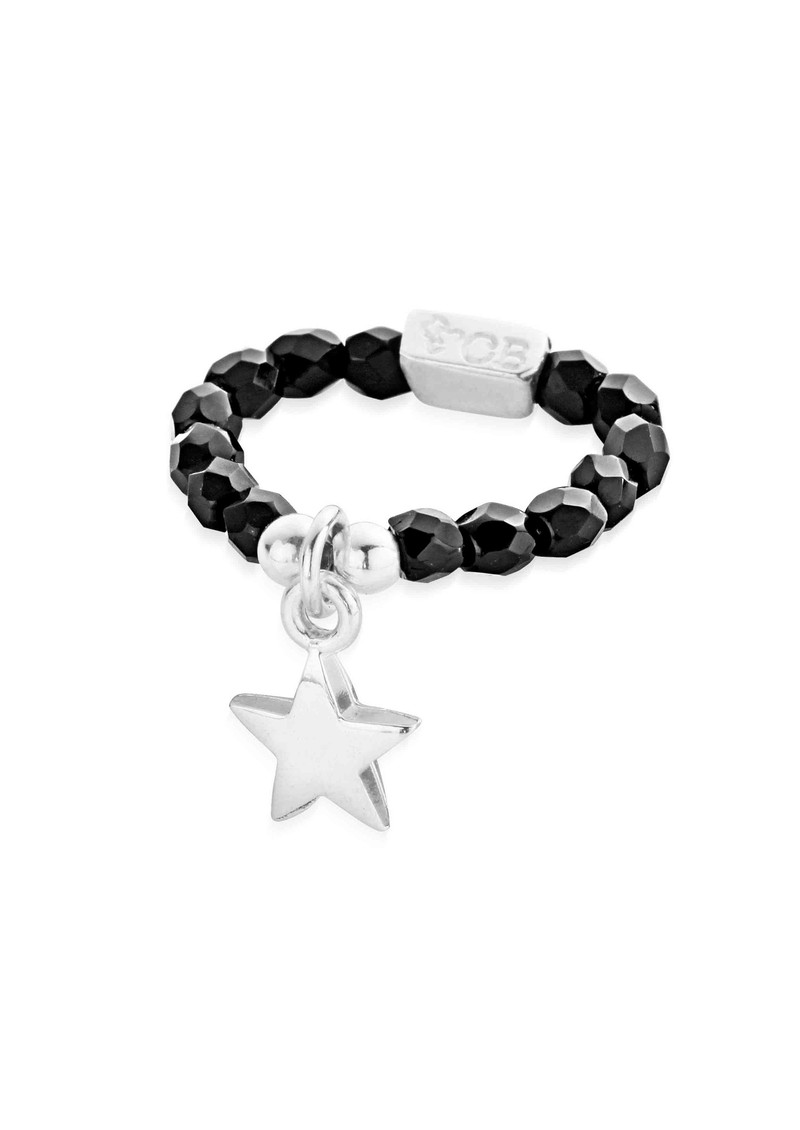 Lucky 13 Black Sparkle Ring with Star Charm - Black & Silver main image