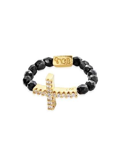 ChloBo Lucky 13 Black Sparkle Ring with Inset Sparkle Cross Charm - Black & Gold main image