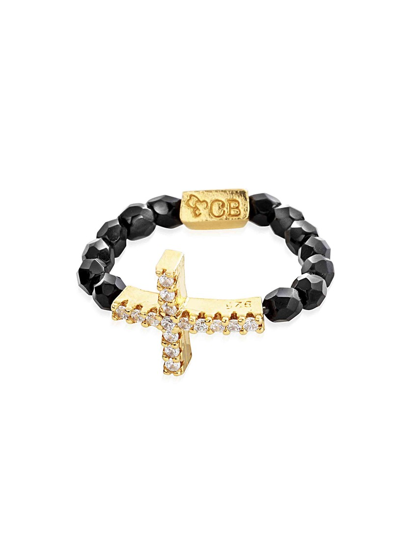 Lucky 13 Black Sparkle Ring with Inset Sparkle Cross Charm - Black & Gold main image