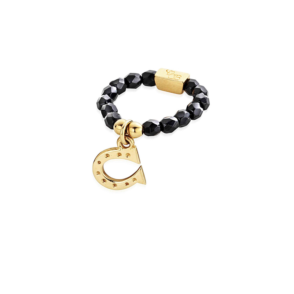 Lucky 13 Black Sparkle Ring with Horseshoe Charm  Black & Gold