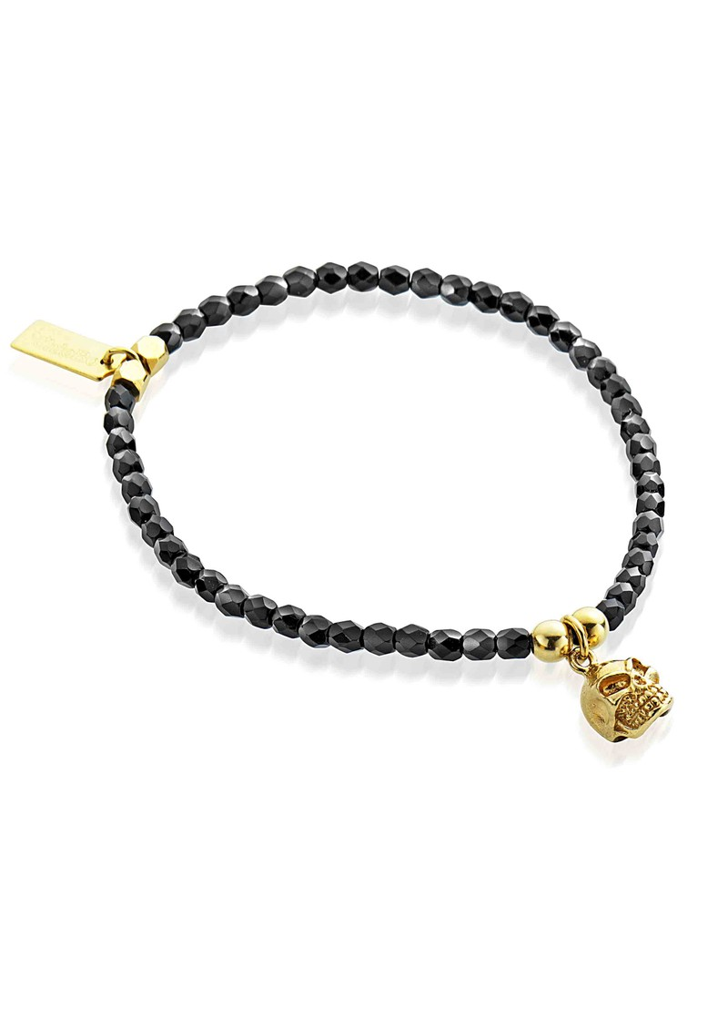 Lucky 13 Cute Black Sparkle Bracelet with Skull - Black & Gold main image