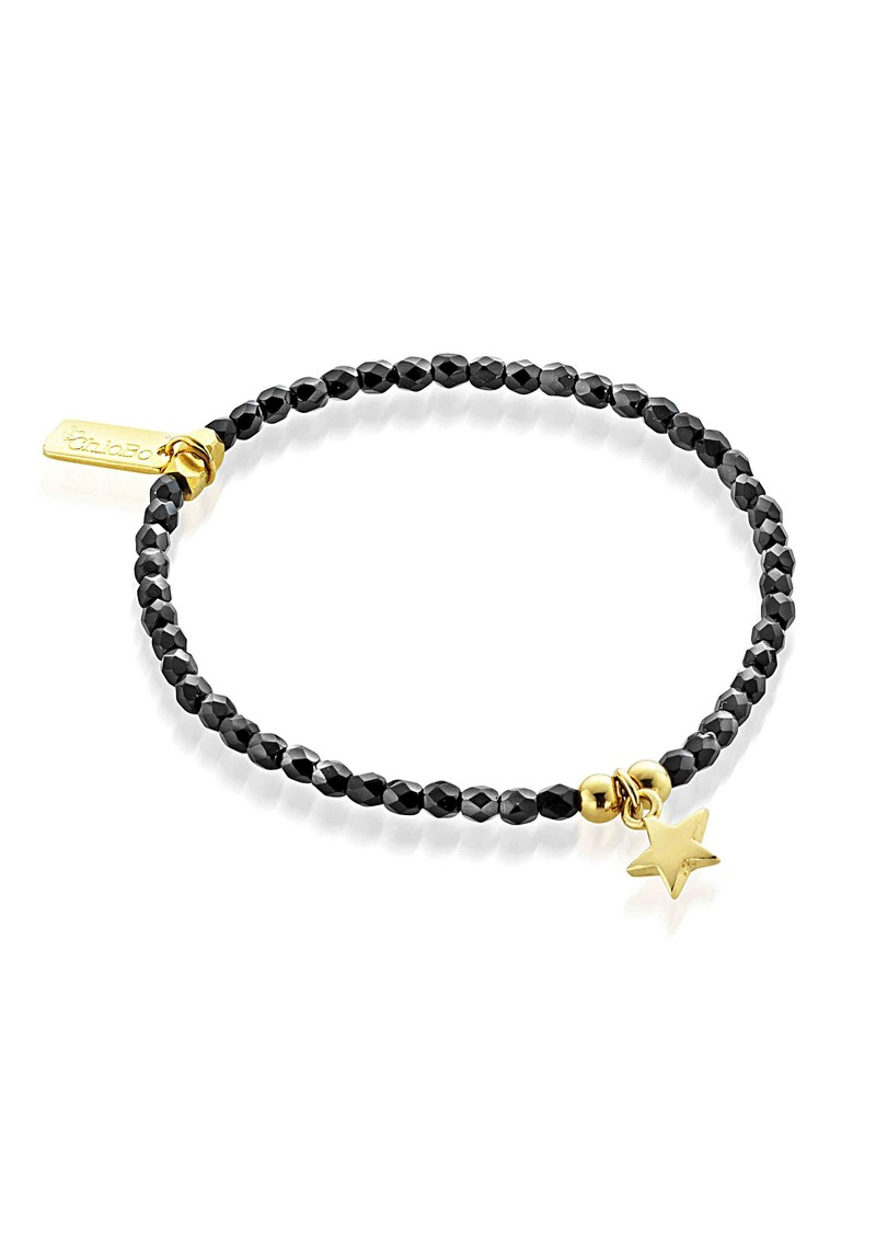 Lucky 13 Cute Black Sparkle Bracelet with Star - Black & Gold main image