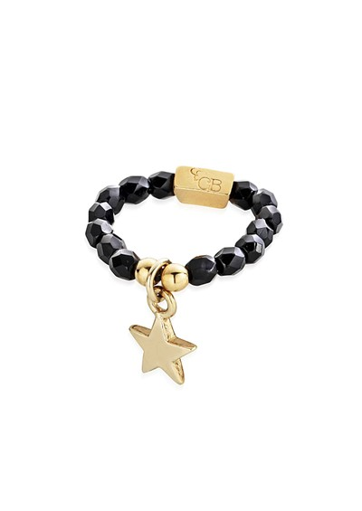 ChloBo Lucky 13 Black Sparkle Ring Star- Black & Gold  main image