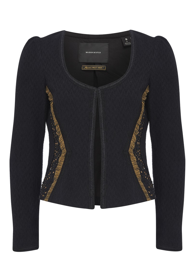 Embellished Cotton Blazer - Black main image