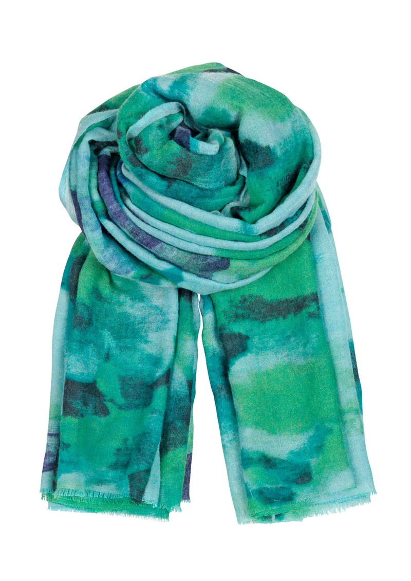I Fleur Peinte Wool & Silk Scarf - Acid Green main image