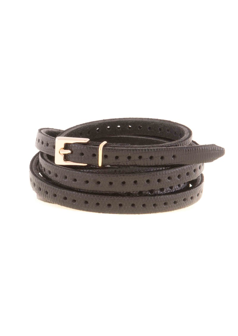 Black & Brown  Orla 2 Double Wrap Skinny Belt - Black main image