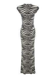 NADIA TARR Animal Print Padded Shoulder Gown - Zebra