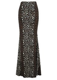 NADIA TARR Animal Print Column Skirt - Leopard